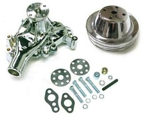 Small Block Chevy Chrome Long Aluminum Water Pump 2 Groove Chrome Pulley Kit