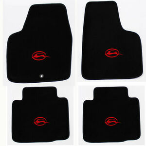 New Black Floor Mats 2006 2014 Chevy Impala Embroidered Running Logo Red All 4