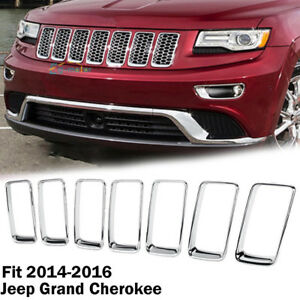 7pc Chrome Front Grille Trim Ring Insert Cover For Jeep Grand Cherokee 2014 2016