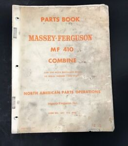 Massey Ferguson Parts Book Mf 410 Combine Prior To Serial Numbers 1200 006777