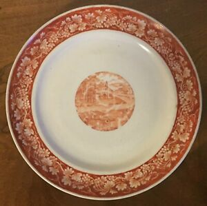 Antique Chinese Export Porcelain Plate Iron Red Early 19th C Grape Vine Border