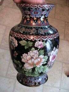 Fine Antique Japanese Cloisonne Glass Inlay Vase Flowers Birds Meiji