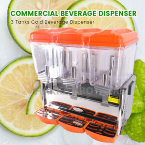 Hakka Commercial Triple 3 Gallon Bowl Refrigerated Beverage Dispensers