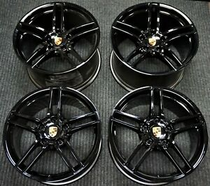 4 Factory Porsche 991 Carrera 4 4s Turbo 19 Oem Wheels 911 Black Rims