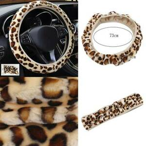 Car Steering Wheel Cover Winter Soft Leopard Plush Direction Wheels Accessories