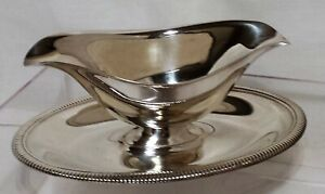 Wm Rogers Mfg Silverplate Double Pour Gravy Sauce Bowl W Attached Tray 4213