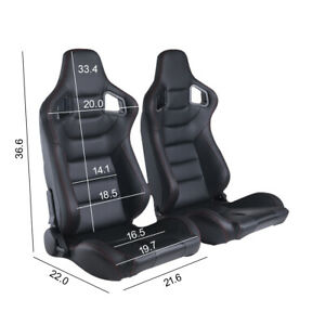 Universal 2pcs Car Full Recline Racing Seats W 2 Sliders Sport Pu Leather Black