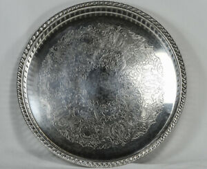 Vintage F B Rogers Silver Serving Tray Round Etched 158 10 Inches