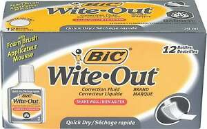 Bic Wite out Brand Quick dry Correction Fluid Wofqd12ct