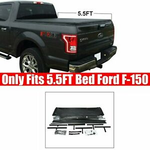 For 2015 2019 Ford F 150 5 5 Bed Tri Fold Tonneau Cover Soft Folding