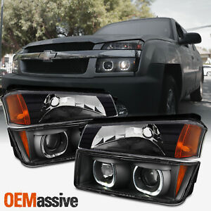 4 Pcs for 02 06 Chevy Avalanche Dual Halo Projector Headlights Corner Lights