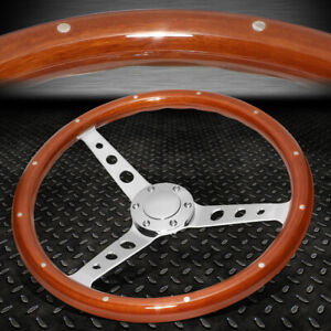 15 Riveted Wood 2 deep Dish Stainless Steel Spokes Vintage Style Steering Wheel