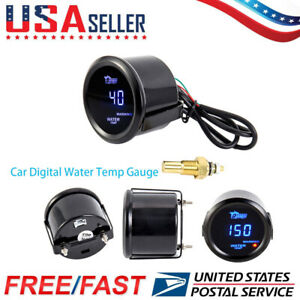 Universal 2 52mm Water Temp Gauge Blue Digital Led Temperature Car Auto Meter