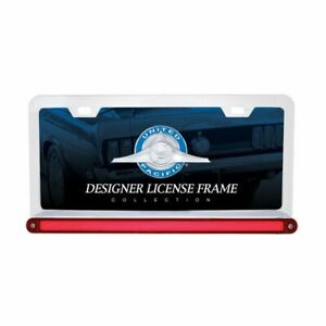 Upi Chrome License Plate Frame With Red Led sred Glo Light Lens 36497