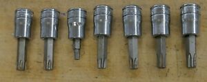 Lot 7 Snap On Tools Torx Sockets Ftx500e Ftx45e Ftx50e Ftx27e Pre Owned