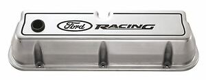 Proform 302 001 Aluminum Valve Covers Sbf Tall Polished Ford Racing Logo Pair