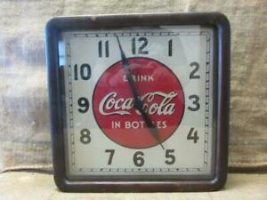 Vintage 1939 Electric Coca-Cola Clock Sign > Wood Metal Glass Antique Coke 10028