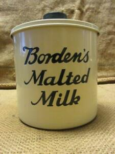 Vintage Borden's Malted Milk Container Antique Old Dairy Candy Malt Shake 10077