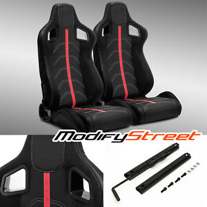 2 X Black Pvc Leather red Strip red Stitch Left right Racing Bucket Seats