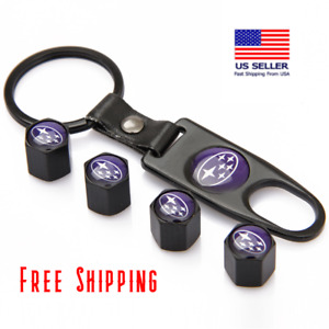 For Subaru Blue Black Car Wheel Tire Valve Dust Stem Air Caps Keychain Usa