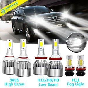 For Toyota Highlander 2014 2017 Combo Led Headlight Fog Lights 6 Bulbs Kit 6000k
