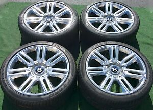 Factory Bentley Continental Wheels Tires Polished Flying Spur Oem 7 Twin Spoke 4