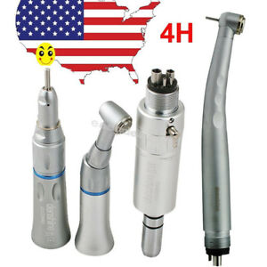 Usa Dental High Low Speed Handpiece Kit Push Button 4 Holes 3 Way E type Fit Nsk
