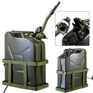 5 Gallon 20l Gas Jerry Can Fuel Solid Steel Tank Military Green W Holder New