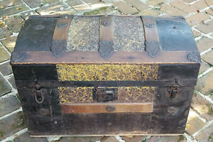 Antique 19c Dome Top Pressed Tin Steamer Trunk