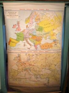 Vintage Wall Map 72 X 43 Peoples Of Europe Economic Europe