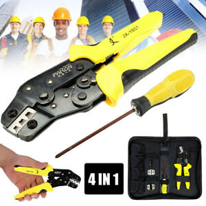 4 In 1 Wire Crimpers Ratcheting Terminal Crimping Pliers Cord End Tool Equipment