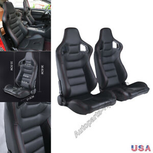 2pcs Universal Car Racing Seats Pu Leather W 2 Sliders 3d Full Wraped Recline