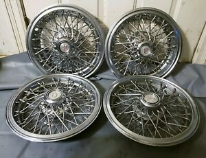Set Of 4 Oem 1981 1988 Chevy Monte Carlo 14 Wire Spoke Hubcaps Wheel Covers