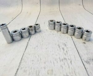 Snap On 3 8 Inch Sockets Lot Of 11 Shallow Deep Well Some Old Logo Vintage