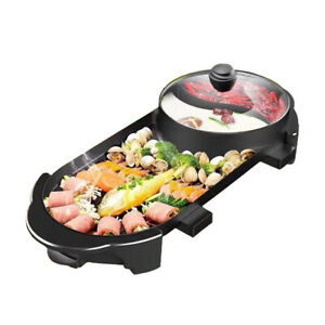 2 In 1 Electric Barbecue Grill Teppanyaki Cook Fry Pan Bbq Oven Hot Pot Kitchen