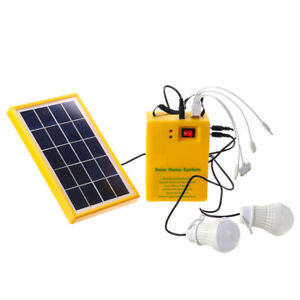 Solar Panel Power Generator Kit 5v Usb Charger Home Outdoor System With 2 Led Bu