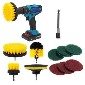 11pcs Electric Drill Cleaning Brush With Sponge And Extend Attachment Tile Grout