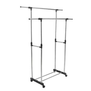 Adjustable Stainless Steel Rolling Rail Movement Cloth Storage Drying Rack Doubl