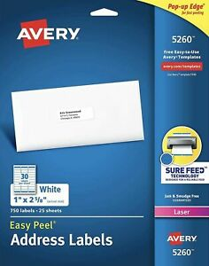 Lot Of 5 750 Avery Laser Address Labels 5160 5260 6240 White 1 X 2 5 8