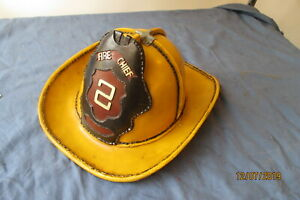 Vintage Leather Fire Helmet Firefighter Gear Yellow Small No Liner
