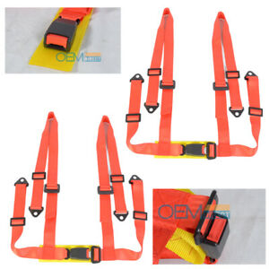 For One Pair Jdm Red 4 point Racing Seats Harness Nylon