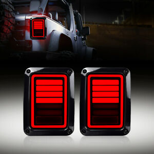 6 Bar Led Tail Lights For 07 18 Jeep Wrangler Jk Jku Brake Reverse Turn Signal