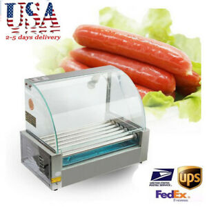 Fda Commercial 18 Hot Dog Hotdog 7 Roller Grill Cooker Machine W Cover 1050w Ce