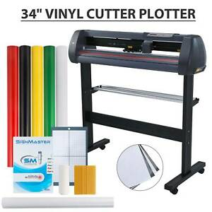 34 Vinyl Cutter Sign Plotter Cutting Paper Cut Printer W 3 Blades Supplies