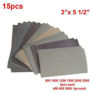 15pcs Wet Dry Sandpaper Set Grinding 400 2500 Grit Metal Auto Car Body Polishing