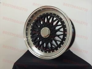 Set Of Four 15 Black W Red Lip Rs Style Rims Wheels Fits 4x100