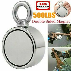 500lbs Pulling Force Round Double Sided Fishing Magnet Super Strong Neodymium Us