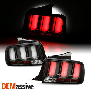 For 05 09 Ford Mustang Led White Tube Black Tail Lights W Sequential Signal