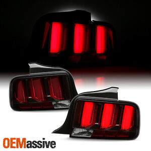 For 05 09 Ford Mustang Led Red Tube Black Tail Lights W Sequential Signal Pair