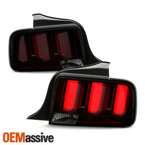 For 05 09 Ford Mustang Red Tube Led Chrome Smoked Tail Light W sequential Signal